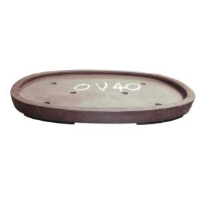 Brun, oglaserad oval bonsaikruka utan läpp