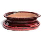 Blodröd och svart oval bonsaikruka