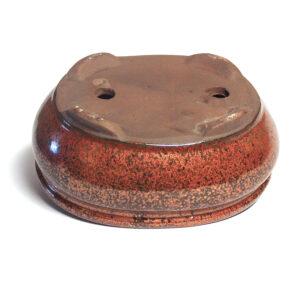kopparfärgad, oval bonsaikruka med fat