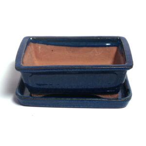 blå,rektangulär bonsaikruka med fat