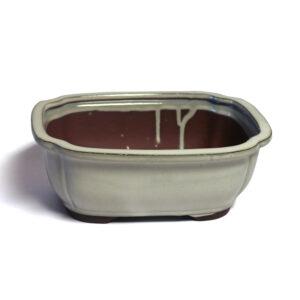 Rektangulär, vit bonsai-kruka