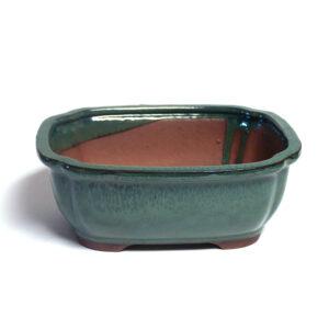 Rektangulär, grön bonsai-kruka