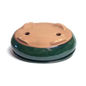 grön,oval bonsaikruka med fat