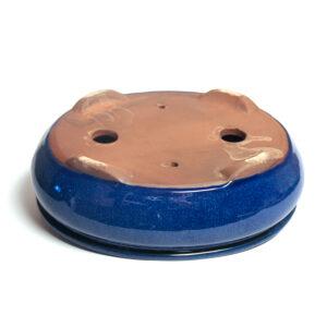 blå,oval bonsaikruka med fat