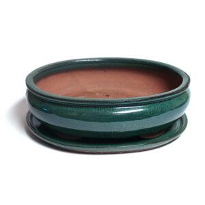 turkos,oval bonsaikruka med fat