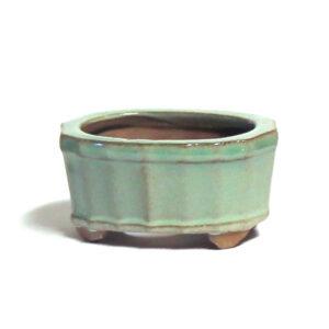 Oval, turkos bonsai-kruka