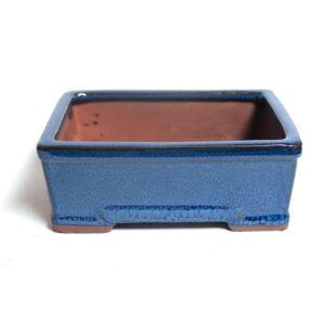 Rektangulär, blå bonsai-kruka