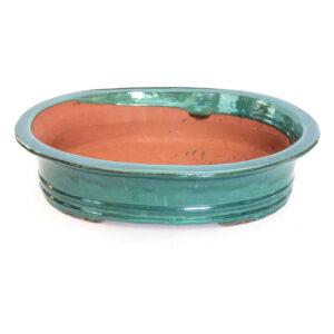 Oval, turkosglaserad bonsaikruka. 45 cm