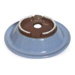 Oval, blåglaserad bonsaikruka. 19 cm