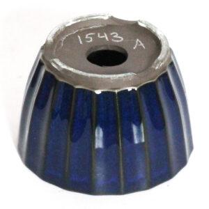 Rund, blåglaserad bonsaikruka. 10 cm