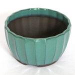 Rund, grönglaserad bonsaikruka. 12,5 cm