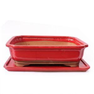 röd, rektangulär bonsaikruka med fat