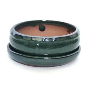 Rund, grön bonsai-kruka med fat